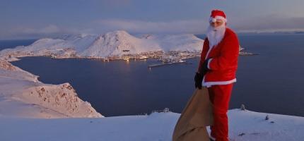 Dette bildet skal pryde Nordkapp kommunes julekort 2018