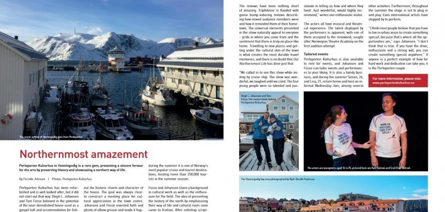 To sider i internasjonalt magasin