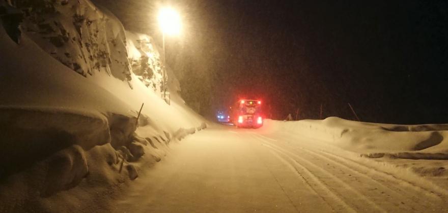 Ras ved Skarvbergtunnelen fredag ettermiddag