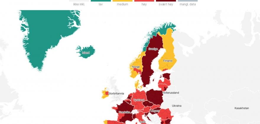 Nord-Norge det enste grønne området i Scandinavia