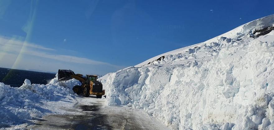 Stor snøskred sør for Repvåg - Kolonne forbi rasstedet