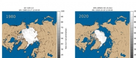 2020 er ett av årene med minst is i Arktis