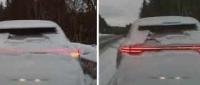 Større fare for at baklysene dekkes av snø på moderne biler