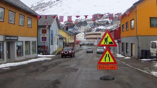 !Storgata i Honningsvåg.