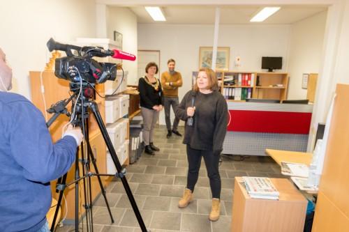 !Direktesending på nett: Fra venstre Stian Eliassen, Kristina Hansen, Arne Reginiussen og Stine Serigstad.