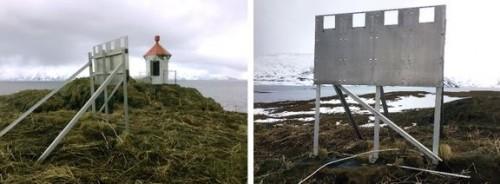 !Frekke tjuver har stjålet solcellepanelet på fyrlykta Karken på Sørøya i Finnmark. Bare opphenget står igjen. (Foto: Kystverket)