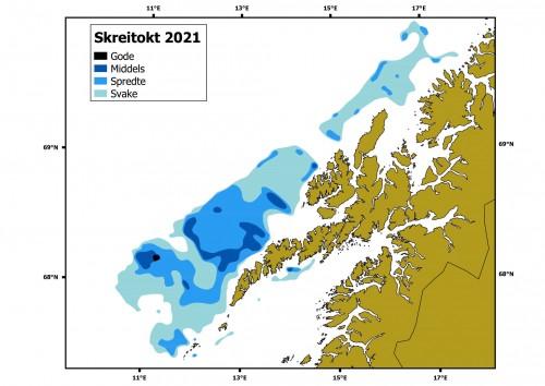 !Årets skreikart: Lite skrei å se på innsiden av Lofoten. (Kart: Malin Lie Skage / HI)